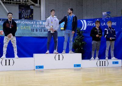 Podium du championnat de France M20 fleuret 2018